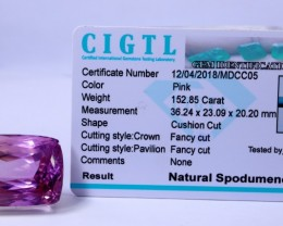Certified CIGTL | 152.85 Ct| Museum Grade | Pink Kunzite Gemstone