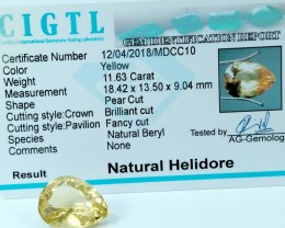 Certified|CIGTL|11.63 Cts Museum Grade |Yellow Heliodor Gems