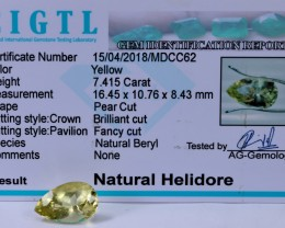 Certified|CIGTL|7.415 Cts Museum Grade |Yellow Heliodor Gems