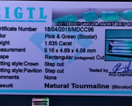 Certified|CIGTL~1.635 Cts Museum Grade|Bi color Tourmaline Gemston