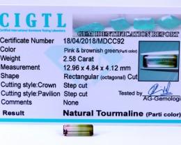 Certified|CIGTL~2.58Cts Museum Grade|Bi color Tourmaline Gemstone