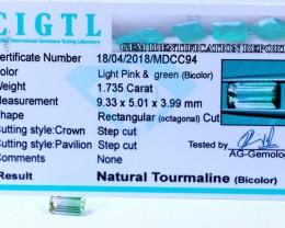 Certified|CIGTL~1.735Cts Museum Grade|Bi color Tourmaline Gemstone