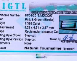 Certified|CIGTL~1.395 Cts Museum Grade|Bi color Tourmaline Gemston