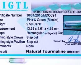 Certified|CIGTL~2.59Cts Museum Grade|Bi color Tourmaline Gemston
