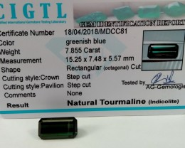 Certified|CIGTL~7.855 Cts Museum Grade Green color Tourmaline Gem