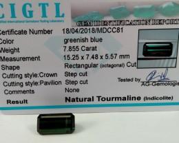 Certified|CIGTL~7.855 Cts Museum Grade Green color Tourmaline Gem