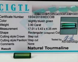 Certified|CIGTL~3.90 Cts Museum Grade Green color Tourmaline Gem