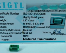 Certified|CIGTL~4.17 Cts Museum Grade Green color Tourmaline Gem