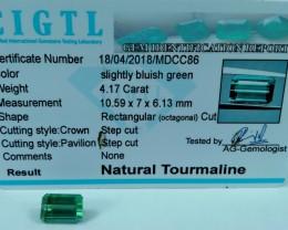 Certified|CIGTL~4.17 Cts Museum Grade Green color Tourmaline Gem