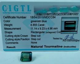 Certified|CIGTL~4.855 Cts Museum Grade Green color Tourmaline Gem