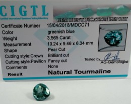 Certified|CIGTL~3.565 Cts Museum Grade Green color Tourmaline Gem