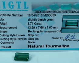 Certified|CIGTL~3.71 Cts Museum Grade Green color Tourmaline Gem