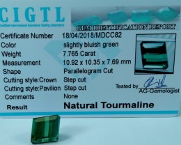 Certified|CIGTL~7.765 Cts Museum Grade Green color Tourmaline Gem