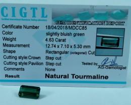 Certified|CIGTL|~4.63 Cts Museum Grade Green color Tourmaline Gem