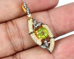 15.88ct Green Peridot 925 Sterling Silver Pendant