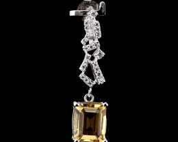 10.2ct Yellow Citrine 925 Sterling Silver Pendant