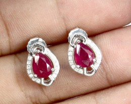 16.56ct Red Ruby 925 Sterling Silver Earrings
