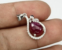 9.25ct Red Ruby 925 Sterling Silver Pendant