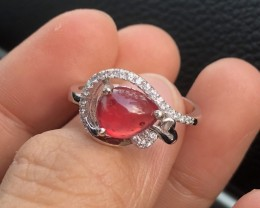 16.59ct Red Ruby 925 Sterling Silver Ring US 8