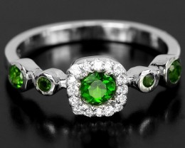 12ct Green Chrome Diopside 925 Sterling Silver Ring US 6.75