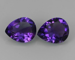 4.20 Cts Natural Purple Amethyst Exquisit Pear Cut Glister 2  pcs