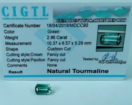 Certified|CIGTL~2.96Cts Museum Grade Green color Tourmaline Gems