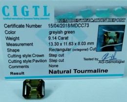 Certified|CIGTL~9.14 Cts Museum Grade Green color Tourmaline Gem