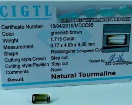 Certified|CIGTL| See Vdo~1.715 Cts Museum Grade Green color Tourmaline Gem