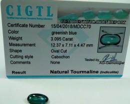 Certified|CIGTL~3.095 Cts Museum Grade Greenish Blue color Tourmal