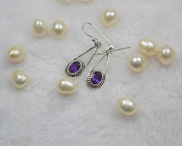 NATURAL UNTREATED AMETHYST EARRINGS 925 STERLING SILVER JE93