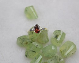 NATURAL UNTREATED GARNET RING 925 STERLING SILVER JE100