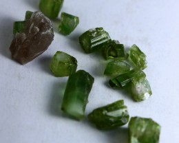 22 Ct Unheated ~ Natural  Superb Green Tourmaline Rough Lot