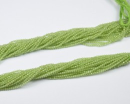 100% NATURAL AUTHENTIC PERIDOT MICRO  FACETED ROUND BEADS (1 STRAND ONLY