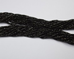 100% NATURAL AUTHENTIC BLACK TOURMALINE FACETED ROUND BEADS (1 STRAND ON
