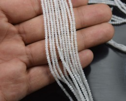 100% NATURAL AUTHENTIC RAINBOW MOONSTONE FACETED ROUND BEADS (1 STRAND O