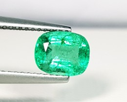 1.29 ct Fantastic Green Cushion Cut Natural Emerald