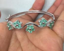 (B6) Brilliant Nat 55.0tcw. Top Rich Green Brazilian Emerald Bangle