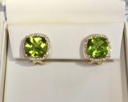 8.86 ct. Peridot Earrings, .41 ct. Diamonds, 14K, Lever Back