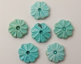 23ct 6Pcs  New Design Natural Turquoise Craved Flower Cabochon (18061308)