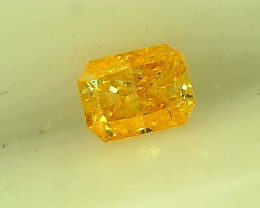 0.16cts  Fancy Intense Orangy Yellow Diamond , 100% Natural Untreated