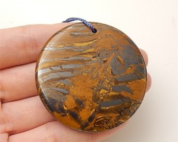 213ct Beautiful Natural Circular Tiger Eye Pendant (18061405)