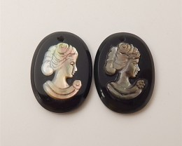 18.5ct New Design Oval Obsidian And Abalone shell Craved Earring Pair(18061