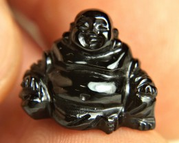 17.78 Carat Black Spinel Buddha - 16mm x 13 - Gorgeous