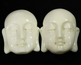 59 cts Buddha mammoth carvibg pair  GOGO 1849