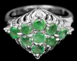 21.5ct Green Emerald 925 Sterling Silver Ring US 8
