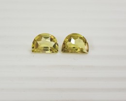 10.30 cts Lemon quartz - Green gold colour - fancy shape pair G0027
