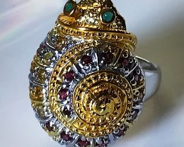 A MAGNIFICENT Snail Ring Sapphire, Garnet, Emerald Size 7.5 Gold over Silve
