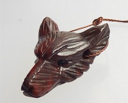 38ct New Design Natural Red River Jasper Craved wolf head Pendant(18061611)
