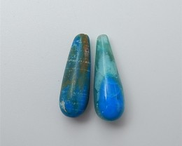 6.5ct New Arrival Natural Water Drop Blue Opal Earring Pair(18061716)