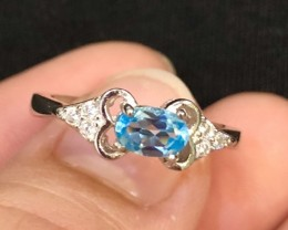 8.5ct Blue Topaz 925 Sterling Silver Ring US 6